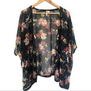 Lee Cooper Navy Floral Kimono Sz M/L